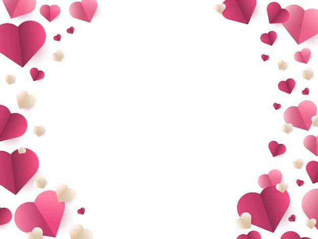 Открытка на день святого валентина с рамкой из красных бумажных сердечек