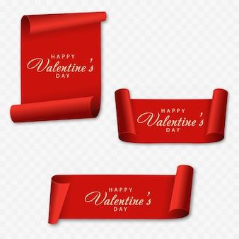 赤い巻物のバレンタインデーカード。ベクター。