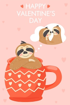 Valentine's day card with sloth in love.