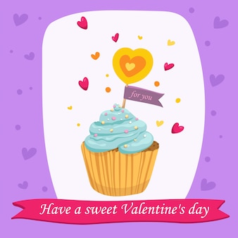 Valentine's day card with sweet cupcake in vector