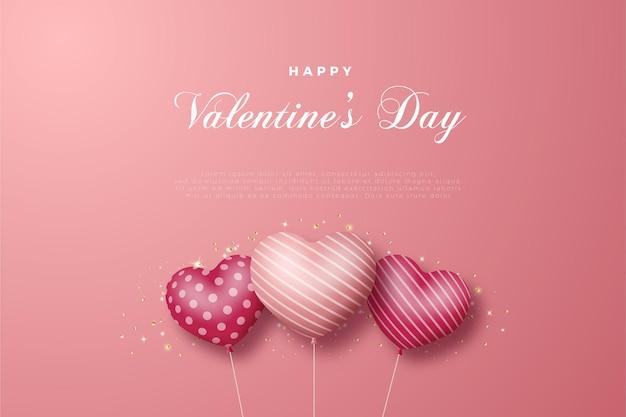 3つの愛の風船が飛んでいるバレンタインデーカード。