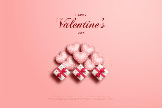 3つのリブ付きギフトボックスが付いたバレンタインデーカード。