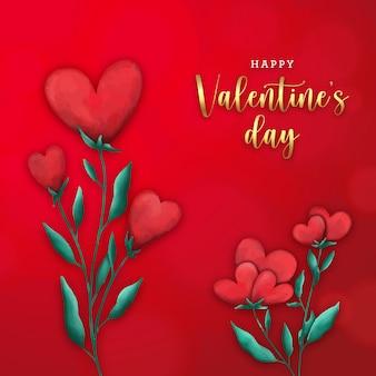 赤い背景に水彩花のハートとバレンタインデーカード