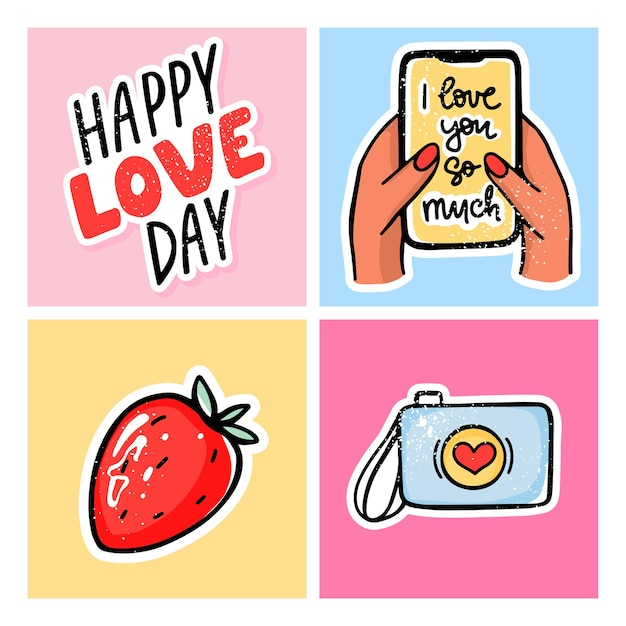 Valentine's day cards set. hand drawn colored trendy illustration. romantic  with camera, phone in hand with love message, strawberry, happy love day lettering.