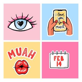 발렌타인 데이 카드 세트. 손으로 그린 컬러 유행 그림. 키스 입술, 사랑 메시지와 함께 손에 전화, 날짜 2 월 달력과 로맨틱.