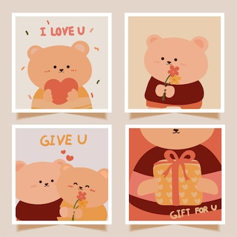 Valentine's day cards set with cute baby bear cartoon
