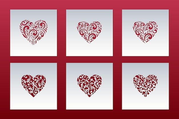 Valentine's day cards set with hearts of lace pattern, laser cut templates.