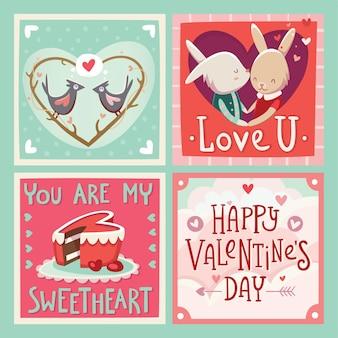 인사와 사랑을 보내는 발렌타인 카드.