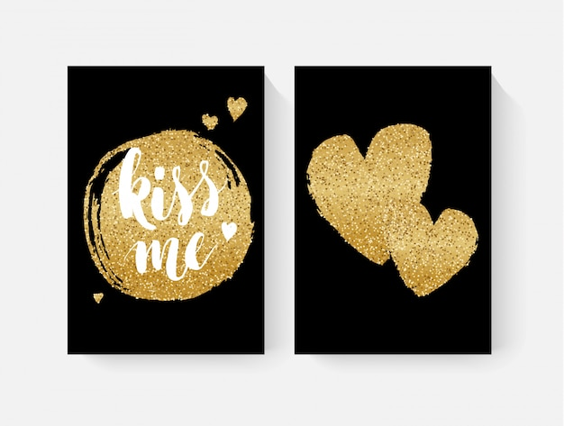 Valentine's day cards with hand lettring and gold glitter details