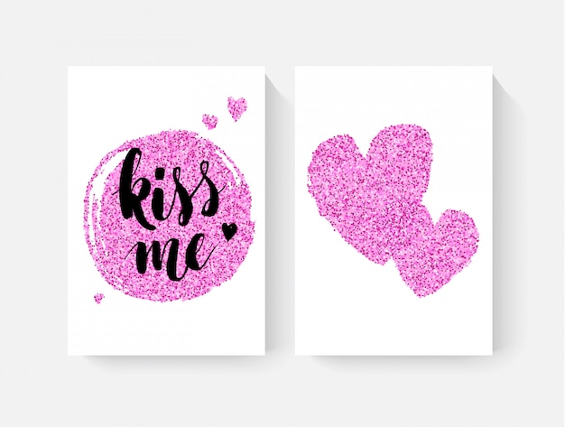 Valentine's day cards with hand lettring and pink glitter details