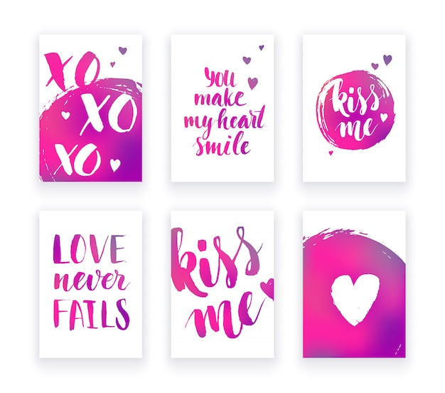 Valentine's day cards with hand lettring and pink gradient details.