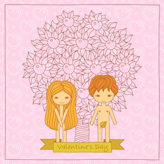 Valentine's day cartoon card with cute couple.