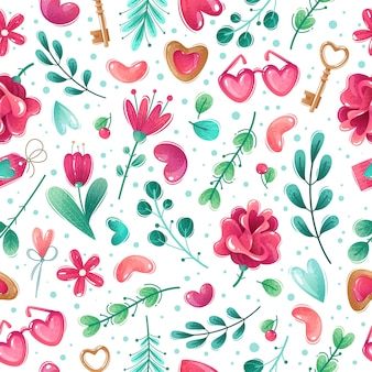 Valentine's day cartoon seamless pattern. seamless pattern on white background valentine's day items. flowers, hearts, sprigs, leaves. decorative thikngs. pink-blue gamma