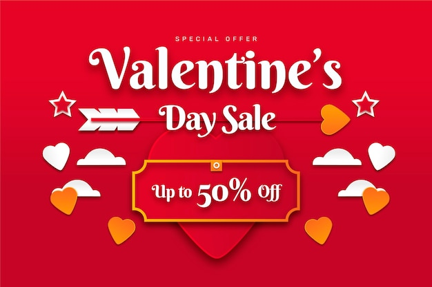 Vendita di celebrazione di san valentino in stile carta