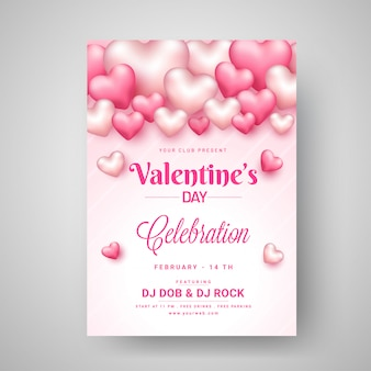 Valentine's day celebration template design decorated with gloss
