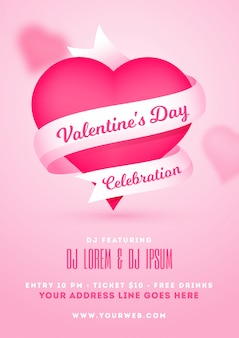 Valentine's day celebration template or flyer design with pink h