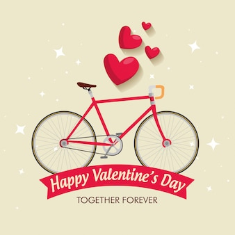 Valentine's day celebration with bicycle