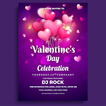 Valentine's day celebrations flyer design.