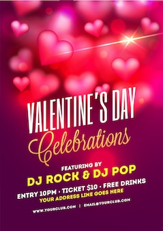 Valentine's day celebrations template or flyer design with decor