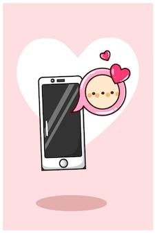携帯電話の漫画イラストからのバレンタインデーのチャット通知