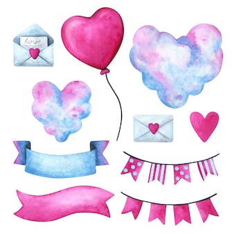 Valentine's day, a clipart for a declaration of love. heart, clouds, letter, ribbon, garland
