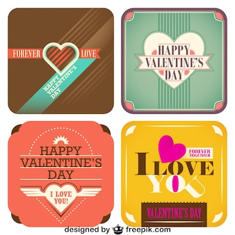 Valentine's Day Collection of Cards Vintage Style Design