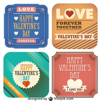 Valentine's day collection of retro postcards
