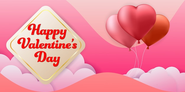 Valentine's day colorful background banner