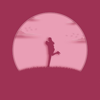 Valentine's day concept. couple happy of love stands on the meadow in pink.