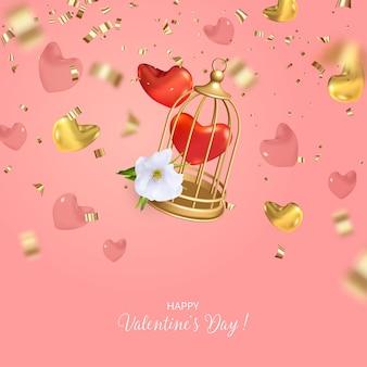 Дизайн концепции ко дню святого валентина с падающей клеткой для птиц, сердечками и блестками