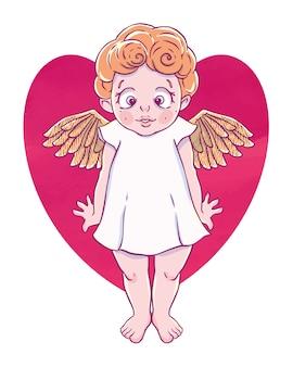 День святого валентина. confused cupid-girl с золотыми крыльями и формой сердца