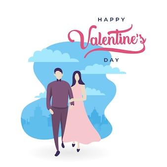 Valentine's day couple background cartoon style