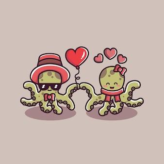 발렌타인 데이 커플 사랑 문어
