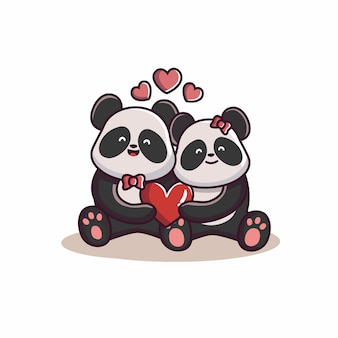 발렌타인 데이 커플 사랑 팬더