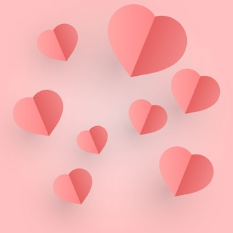 Valentine's day of craft paper design, contain pink hearts