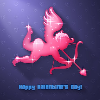 Valentine's day cupid archer with bow and arrow vector illustration