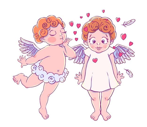 День святого валентина. купидонские облачные брюки, дующие поцелуи и сердца удивленной девушке. пара ангелов.
