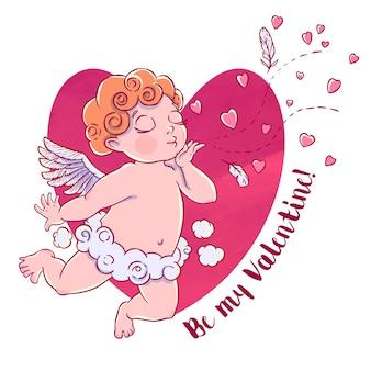 День святого валентина. амурский мальчик в облачных штанах и дует поцелуи и сердца