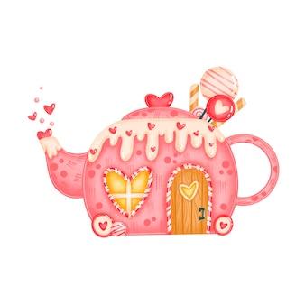 День святого валентина милые конфеты чайник дом иллюстрация изолированы
