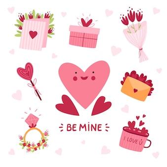 バレンタインデーのかわいい要素セット。ハート、文字、ダイヤモンドのリング、ロリポップ、花束を分離しました。