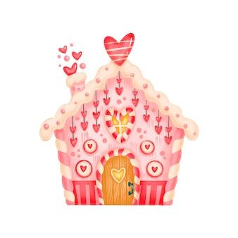 バレンタインデーかわいいジンジャーブレッドキャンディーハウスイラスト分離