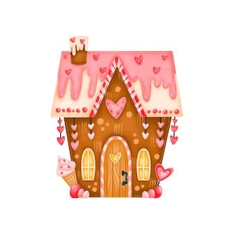 발렌타인 데이 귀여운 진저 사탕 집 그림 절연