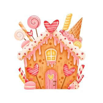 День святого валентина милый пряничный домик иллюстрация изолирована