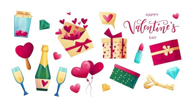 バレンタインデーのかわいいオブジェクトと要素