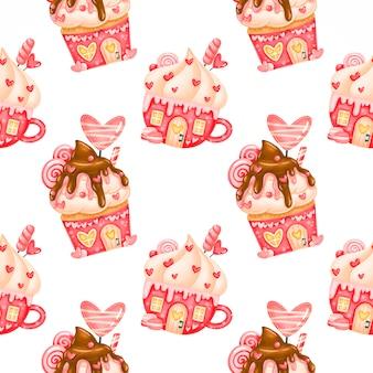 バレンタインデーのかわいいシームレスパターン。バレンタインのジンジャーブレッドハウスのパターン。バレンタインのお菓子のパターン。