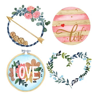 Valentine's day cute set watercolor isolated elements