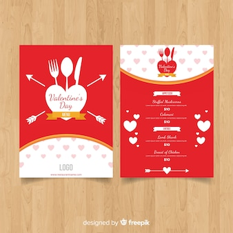 Valentine's day cutlery silhouette menu template