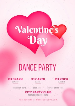 Valentine's day dance party template or flyer design with time,