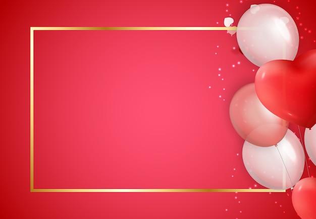 Украшения дня святого валентина с золотой рамкой и шариками.