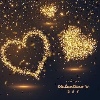 Дизайн ко дню святого валентина. реалистичные роскошные золотые сердца и светящиеся огни.